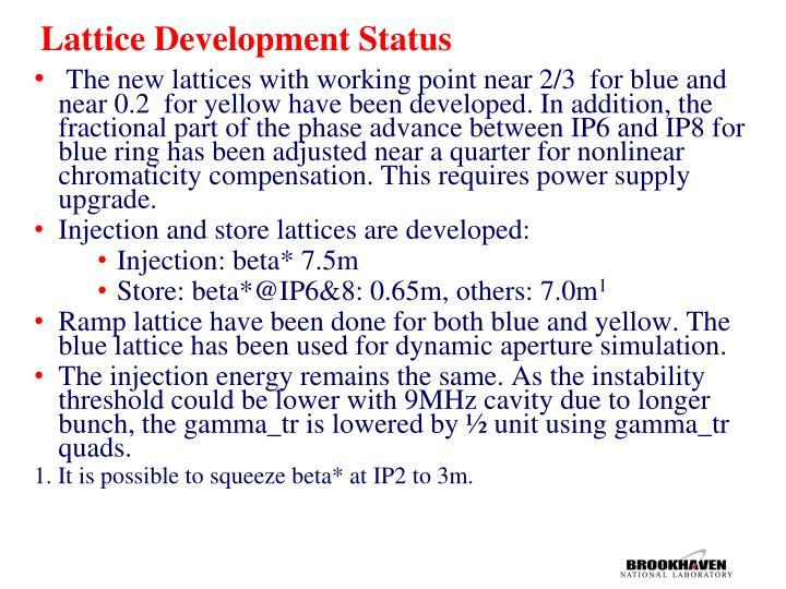 Lattice Development Status