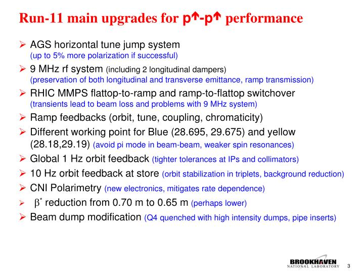 Run-11 main upgrades for