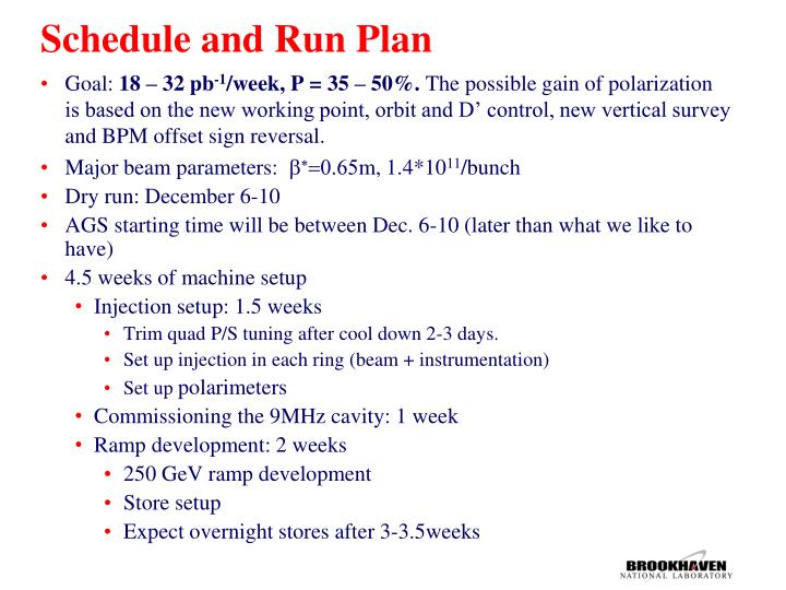 Schedule and Run Plan