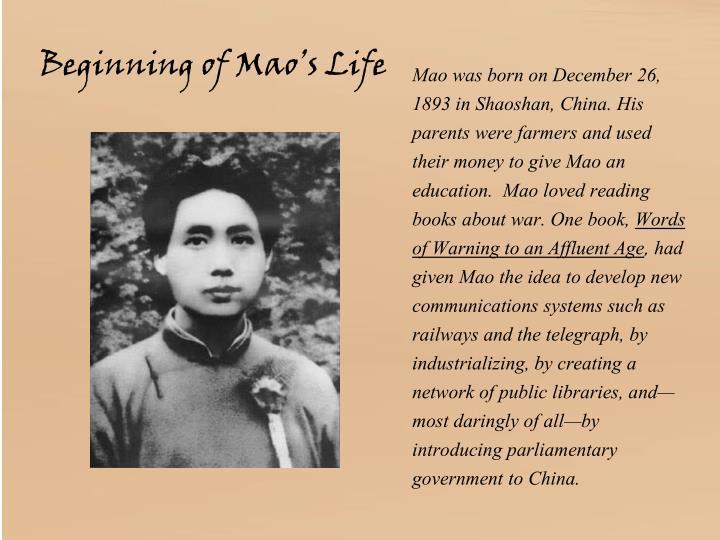 Beginning of Mao's Life