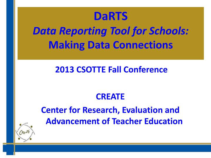 Darts data reporting tool for schools making data connections