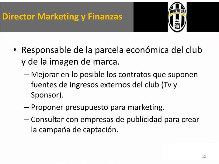 Director Marketing y Finanzas