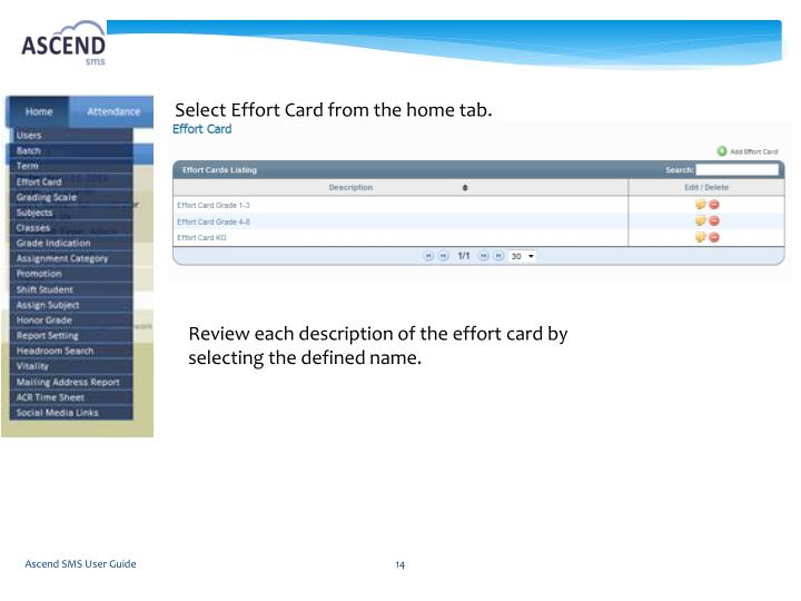 Select Effort Card from the home tab.