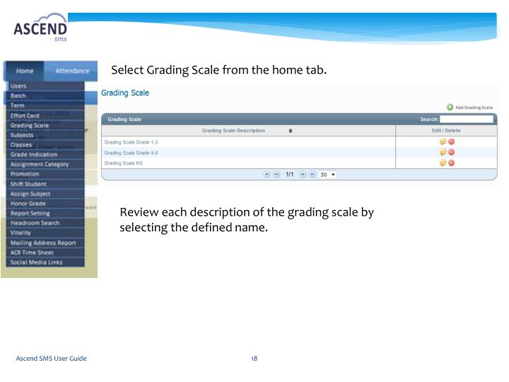 Select Grading Scale from the home tab.