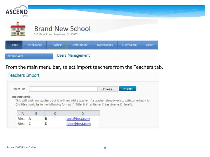 From the main menu bar, select import teachers from the Teachers tab.