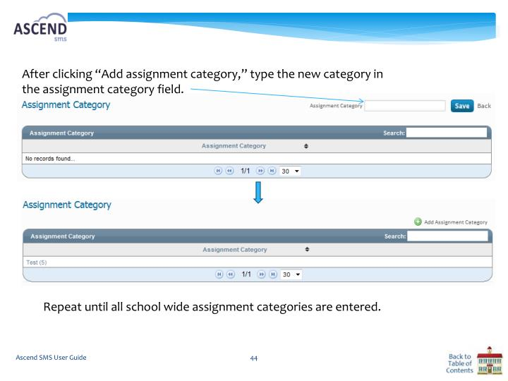 "After clicking ""Add assignment category,"" type the new category in the assignment category field."