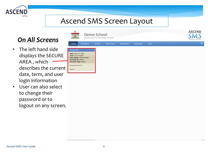 Ascend SMS Screen Layout