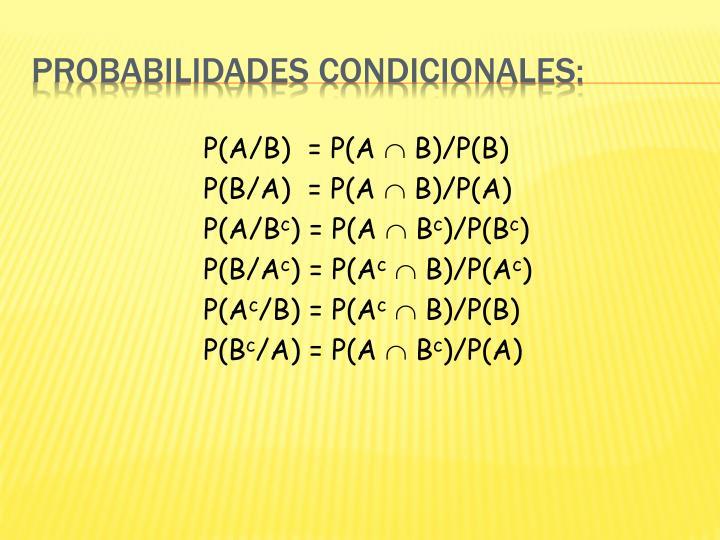 P(A/B)  = P(A