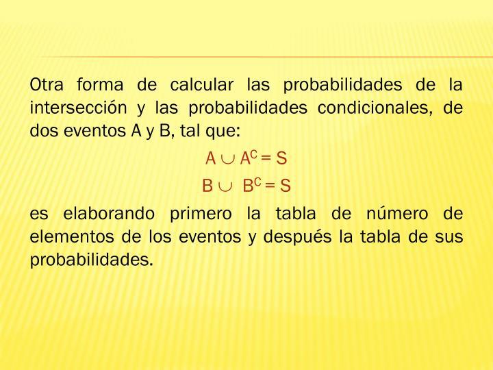 Otra forma de calcular las probabilidades de la intersección y las probabilidades condicionales, de dos eventos A y B, tal