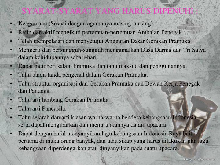 SYARAT-SYARAT YANG HARUS DIPENUHI :