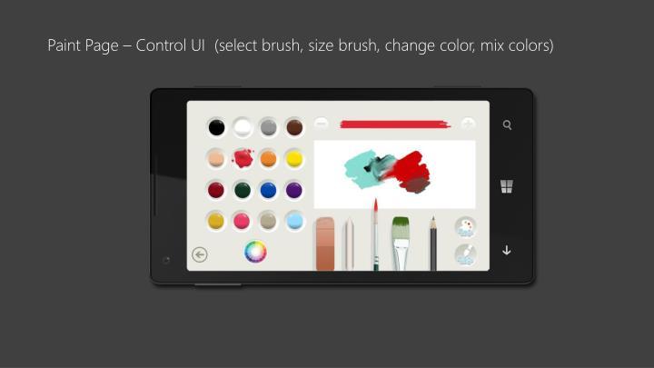 Paint Page – Control UI  (select brush, size brush, change color, mix colors)