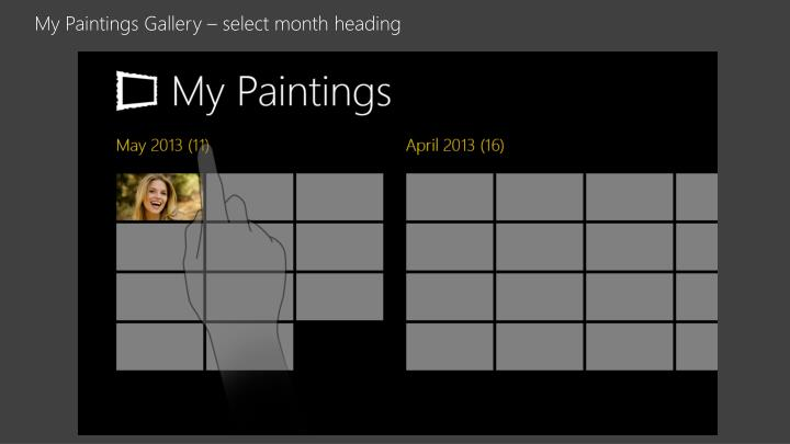 My Paintings Gallery – select month heading