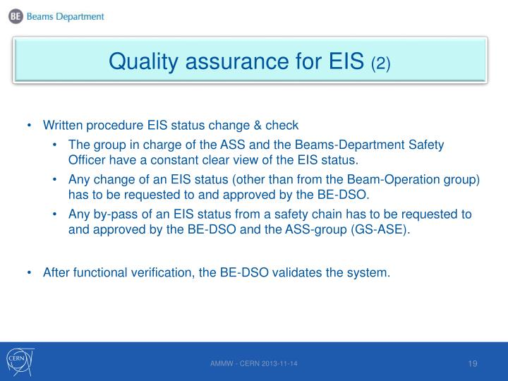 Quality assurance for EIS