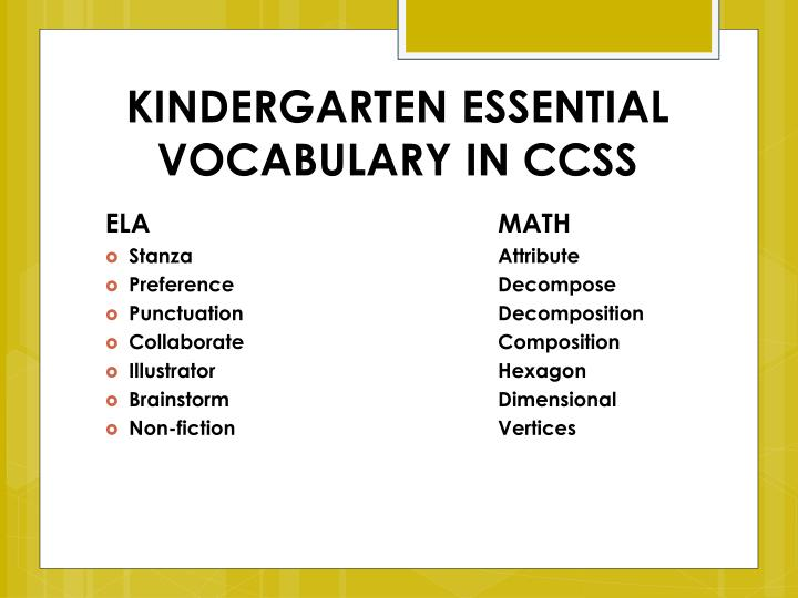 KINDERGARTEN ESSENTIAL VOCABULARY IN CCSS