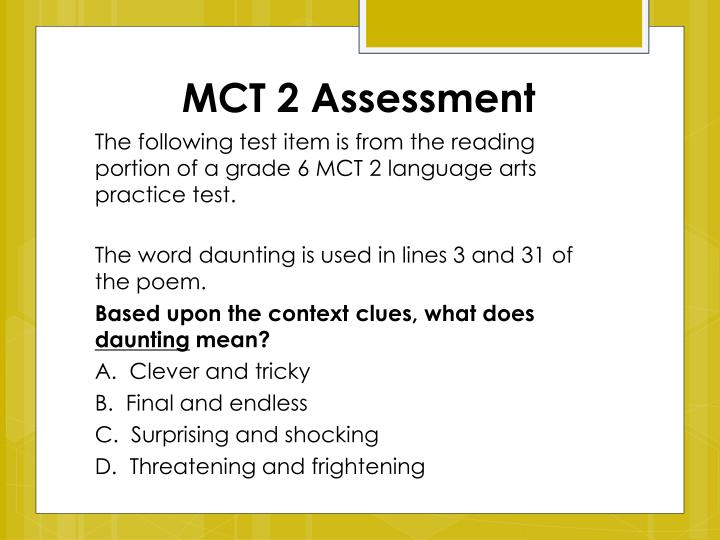 MCT 2 Assessment