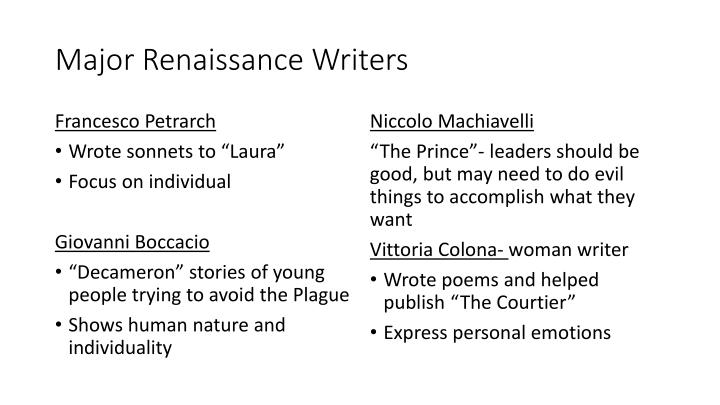 Major renaissance writers