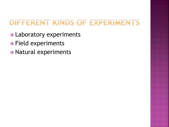 Different Kinds of Experiments