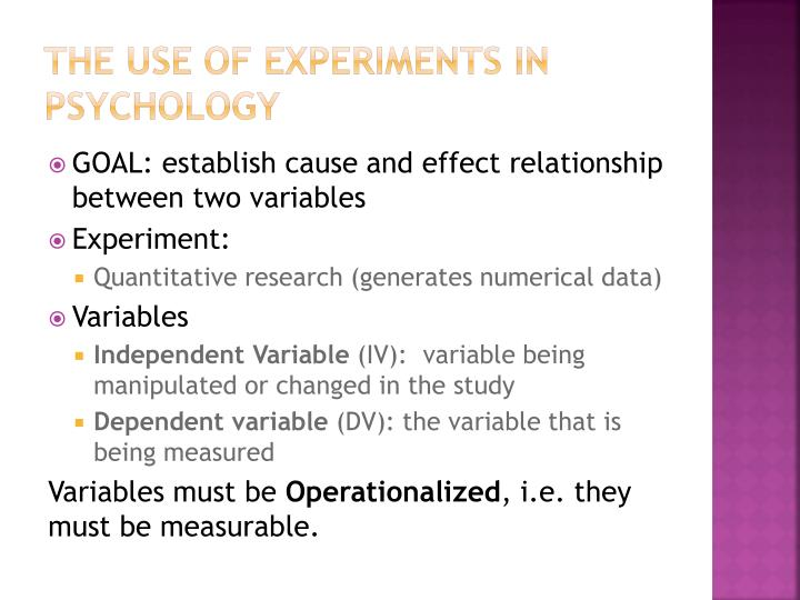 The use of experiments in psychology