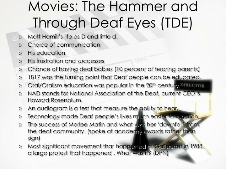essays on through deaf eyes Free through deaf eyes papers, essays, and research papers.
