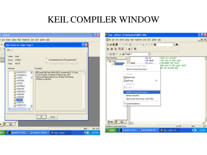 KEIL COMPILER WINDOW
