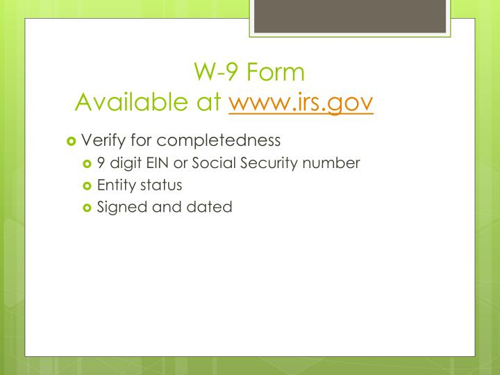 W 9 form available at www irs gov