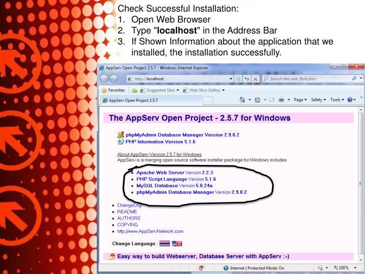 Check Successful Installation: