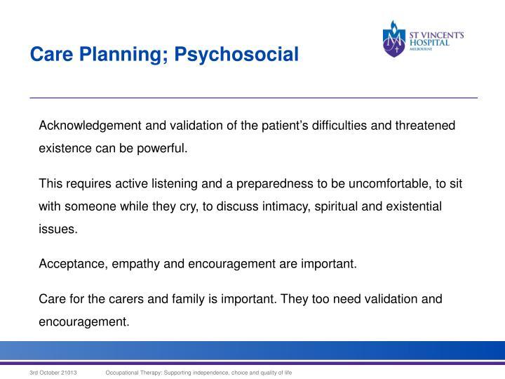 Care Planning; Psychosocial
