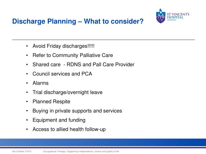 Discharge Planning – What to consider?