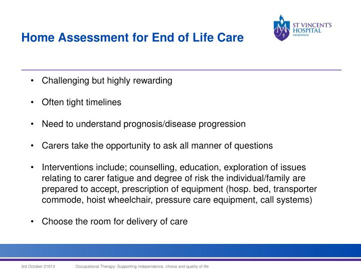 Home Assessment for End of Life Care