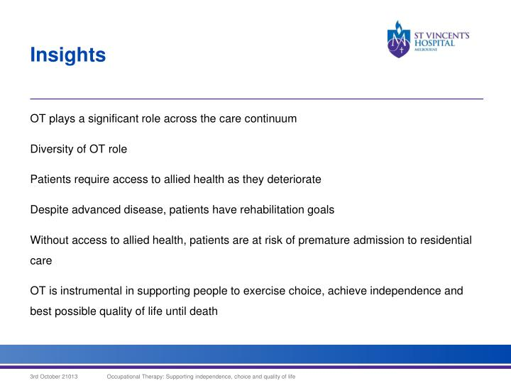 OT plays a significant role across the care continuum