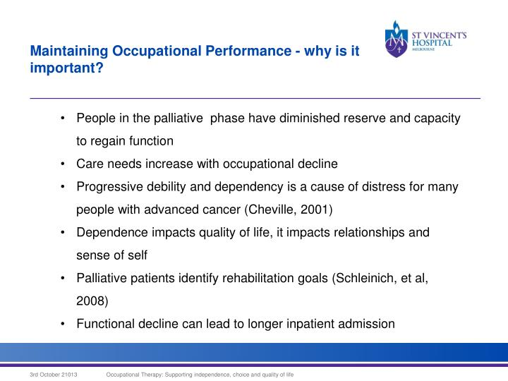 Maintaining Occupational Performance - why is it important?