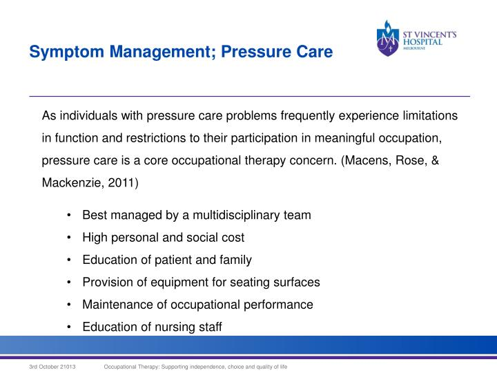 Symptom Management; Pressure Care