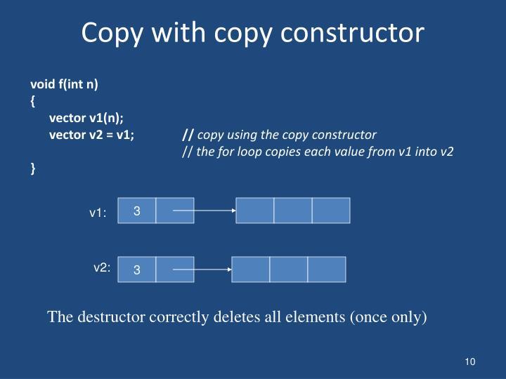 Copy with copy constructor
