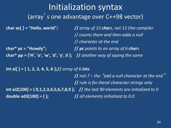 Initialization syntax