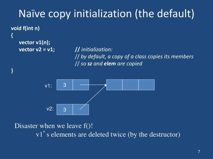 Naïve copy initialization (the default)