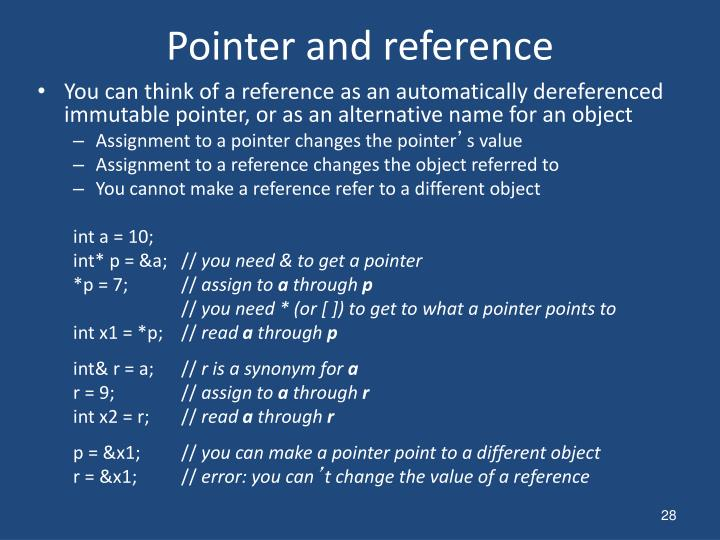 Pointer and reference