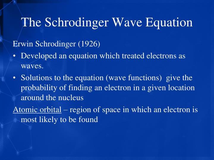 The Schrodinger Wave Equation