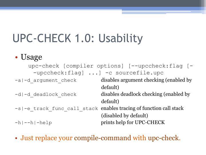 UPC-CHECK 1.0: Usability
