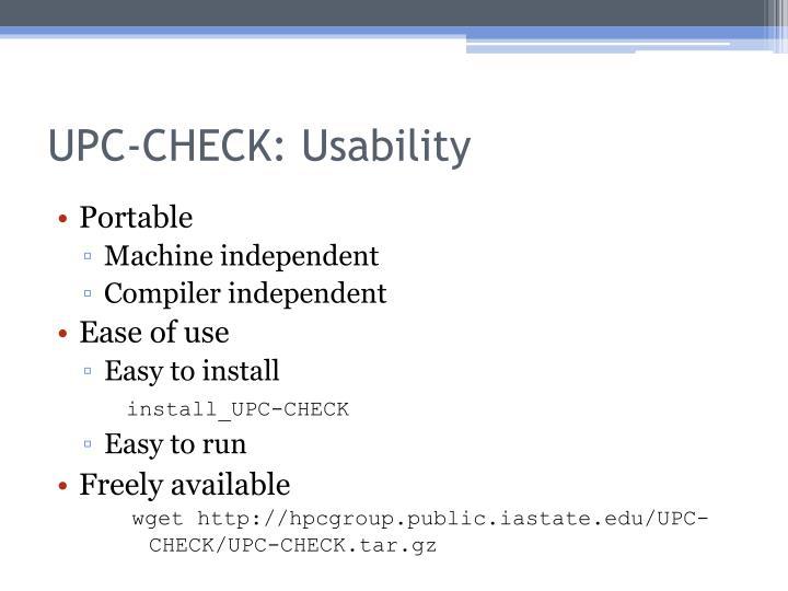 UPC-CHECK: Usability