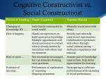 cognitive constructivist vs social constructivist