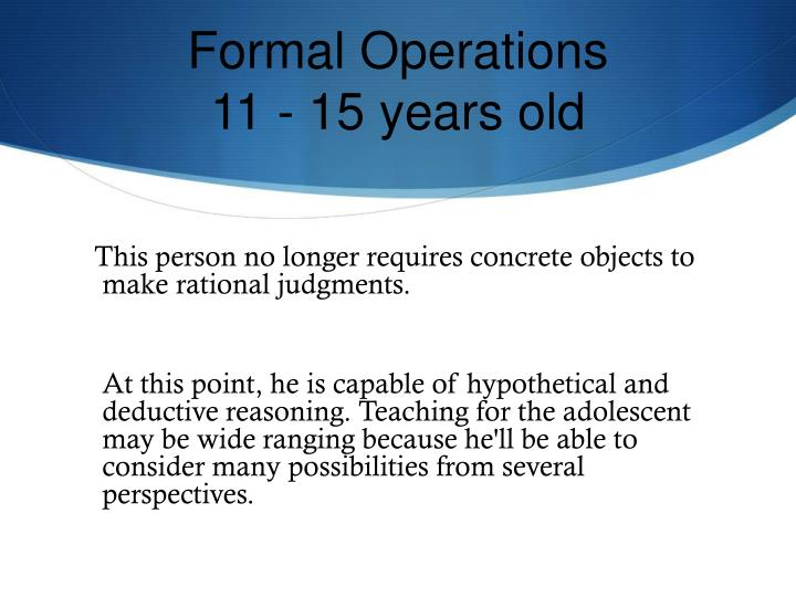 Formal Operations