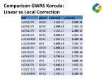 comparison gwas korcula linear vs local correction