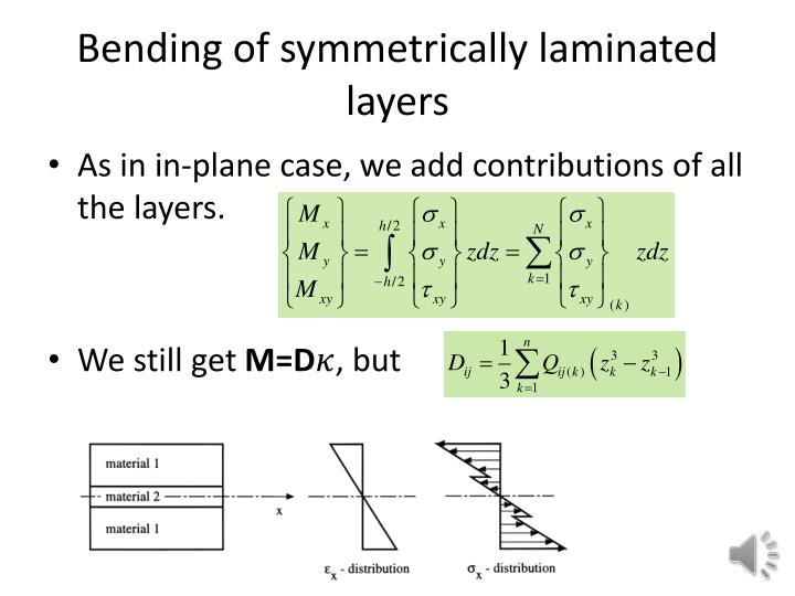 Bending of symmetrically laminated layers