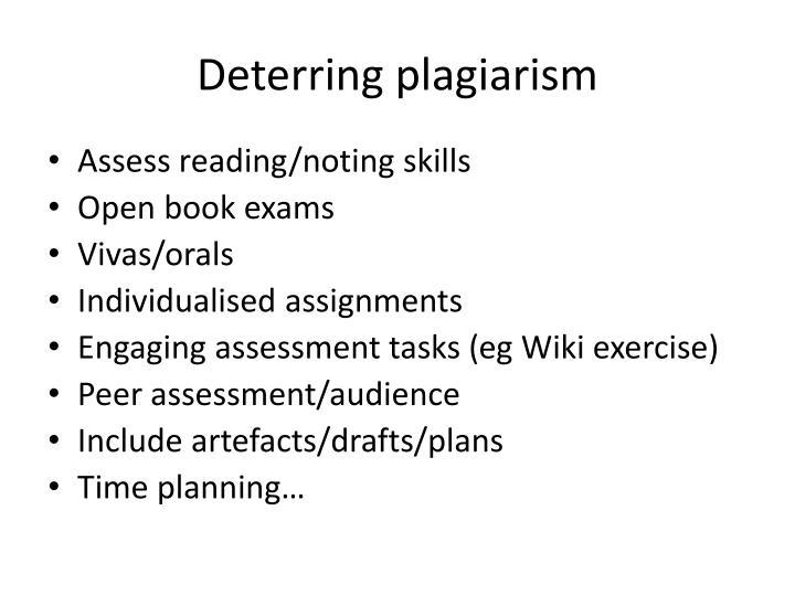 Deterring plagiarism