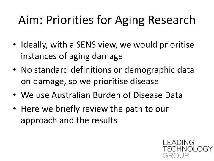 Aim: Priorities for Aging Research