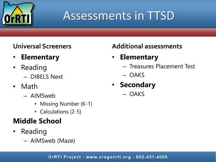 Assessments in TTSD