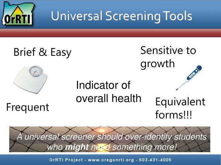 Universal Screening Tools