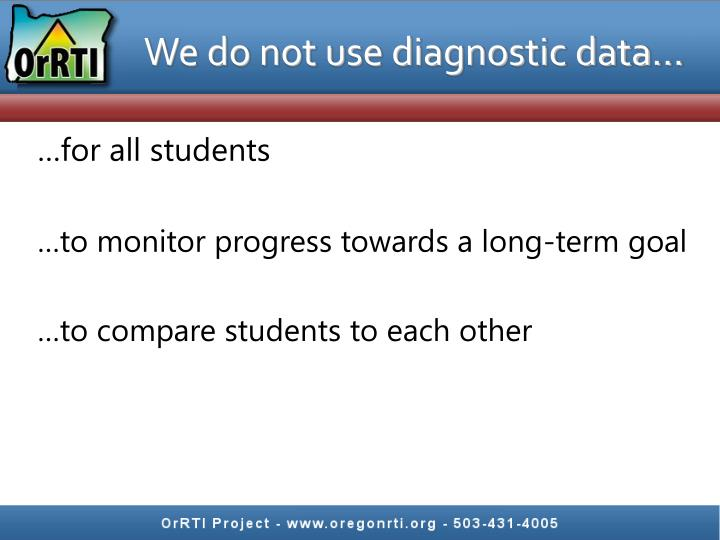 We do not use diagnostic data…