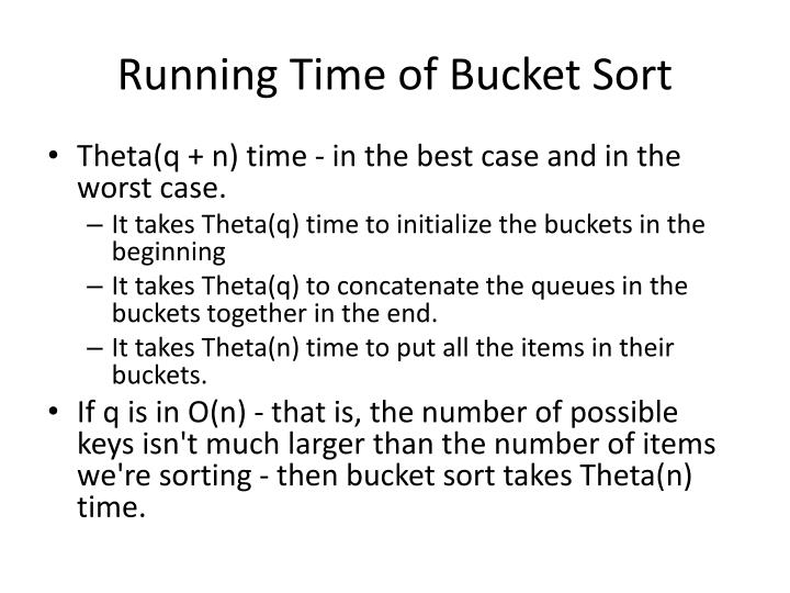 Running Time of Bucket Sort