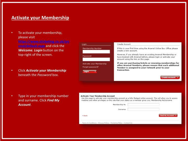 Activate your membership1